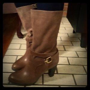 Joan & David Circa leather/suede mid-calf boot.
